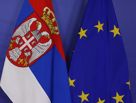 Serbian Prime Minister Ivica Dacic meets with Jose Manuel BArroso