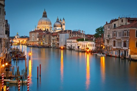 Grand Canal and Basilica at dusk, Venice, Italy.