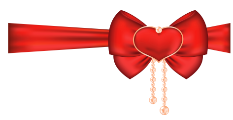 red_bow_with_heart_decor_png_clipart_picture